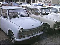 Trabant cars in East Germany