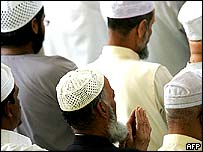 British Muslims at Friday prayers
