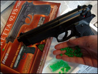 Toy pellet gun, via the BBC website