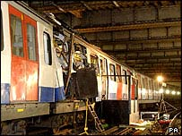 Wreckage of train at Aldgate Tube station