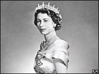 The Queen in 1951 wearing a Norman Hartnell gown