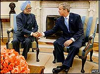 Manmohan Singh and George W Bush