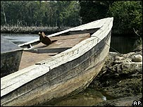 A boat used by oil pipeline vandals to steal oil at the creeks of Warri, Nigeria