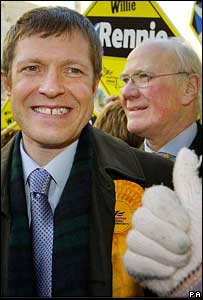 Willie Rennie celebrates with Sir Menzies Campbell