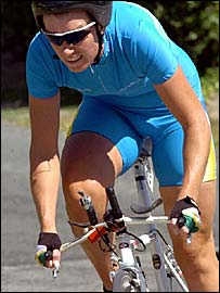 Amy Gillett in action at the 2005 Australian Road Cycling Championship where she won bronze in the road time trial