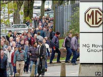 Rover workers leaving Longbridge