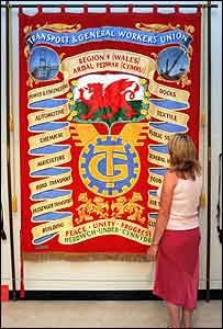 One of the banners in the exhibition