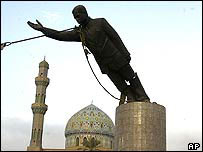 Saddam Hussein statue in toppled in Baghdad in 2003