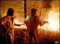 Firemen tackle a blaze by the village of Santa Maria del Pinar in Guadalajara