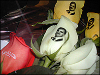 A rose with an image of Hariri printed on it