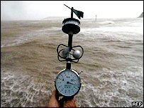The wind speed is monitored along the coast in Fuzhou, south-eastern China's Fujian province 19 July 2005.