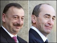 Azerbaijan President Ilham Aliyev (left) and Armenian President Robert Kocharyan (AFP pics)