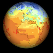 Globe showing different temperature bands.  Image: BBC
