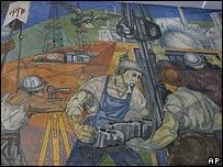 Mural de trabajadores petroleros