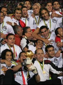 Egypt's players celebrate winning the African Cup of Nations