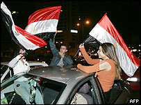 Egyptian fans celebrates African Cup of Nations win in Cairo
