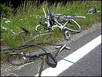 The accident left most of the bicyles in pieces