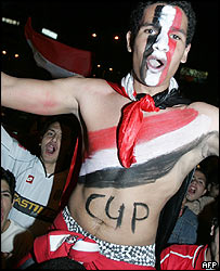 Egyptian fan celebrates African Cup of Nations win in Cairo