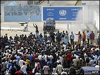 Demonstrators protest outside a UN base in Abidjan on 16 January 2006