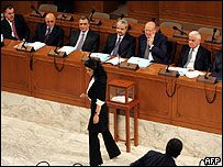 Lebanese parliamentarians watch wife of jailed ex-warlord Samir Geagea at inaugural session