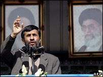 Mahmoud Ahmadinejad speaking at the rally in Tehran