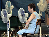 woman with cooling fans