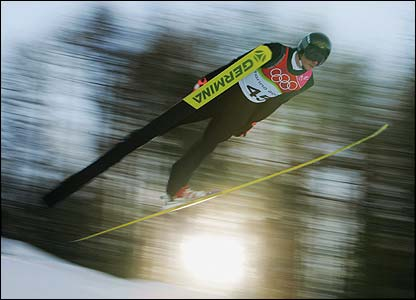 Georg Hettich of Germany completes jump two in the Nordic Combined Normal Hill event