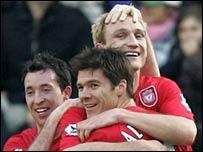 Sami Hyypia celebrates scoring Liverpool's winner