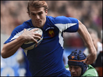 Aurelien Rougerie scored France's opening try in the third minute