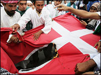 Indonesian Muslims burn the Danish flag on 3 February
