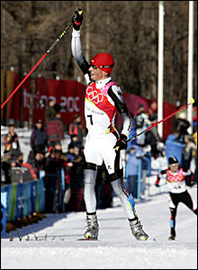 Georg Hettich cross the line at the end of the 15km cross country race with Felix Gottwald to the rear