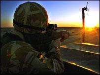 British soldier on patrol generic