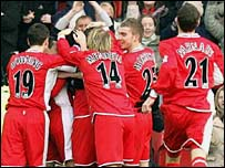 Boro players celebrate Fabio Rochemback's goal against Chelsea