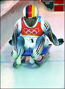 Georg Hackl pushes off in the luge