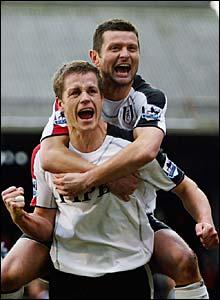 Heidar Helguson celebrates with Tomasz Radzinski