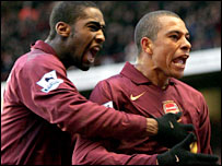 Arsenal scorer Gilberto (right) celebrates with Vassiriki Diaby