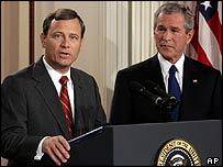 Mr Roberts and President Bush