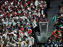 El presidente de Italia y el presidente del COI, durante la ceremonia de inauguraci�n.