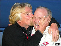 Steve Fossett, right, is congratulated by Virgin boss Sir Richard Branson