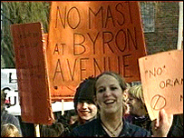 Demonstrators at a previous protest against the Byron Avenue mast