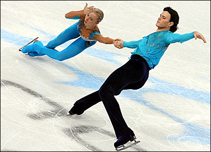 Russia's double world champions Tatiana Totmianina (left) and Maxim Marin