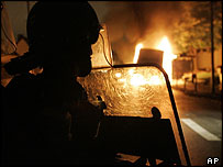 French police during riots in Paris in November 2005