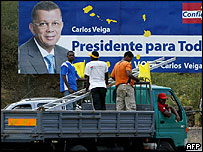 Poster of presidential candidate Carlos Veiga in Praia