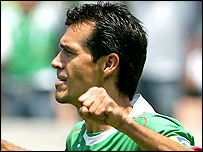 Jared Borgetti celebrates scoring for Mexico
