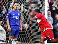 Chelsea skipper John Terry is in shock as Yakubu nets Boro's third