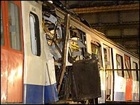 Tube train damaged in 7 July bombings
