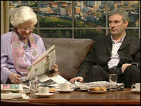 P D James and Kevin Maguire