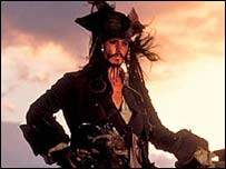 Johnny Depp stars in Pirates of the Caribbean
