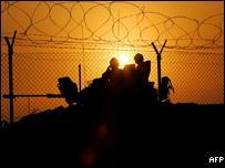 British troops patrol their base at Shaibah Logistics Base in southern Iraq