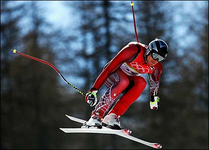 Austria's Michael Walchhofer sets the fastest time in the men's downhill